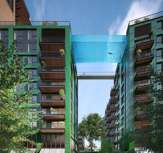 """""""Nebeski bazen"""" povezuje dve zgrade i pruža pogled na ulicu ispod - Gradjevin..."""