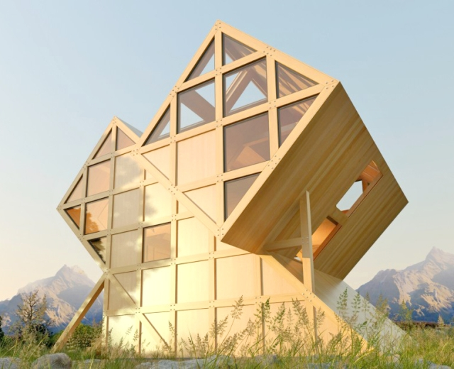 geometrijska drvena koliba inspirisana dolomitima. Black Bedroom Furniture Sets. Home Design Ideas