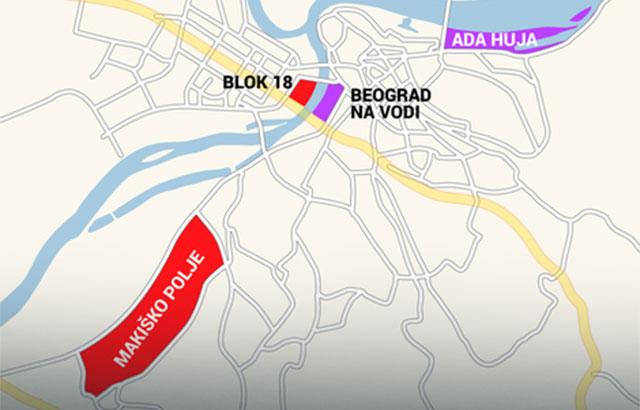 blic mapa beograd Četiri nova naselja Beograda   Gradjevinarstvo.rs blic mapa beograd