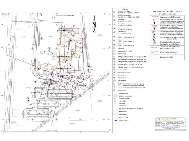 Inženjersko-geološka karta - Situacija terena sa položajem istražnih radova, za potrebe definisanja geotehničkih uslova izgradnje električne centrale na biogas u Ilandži