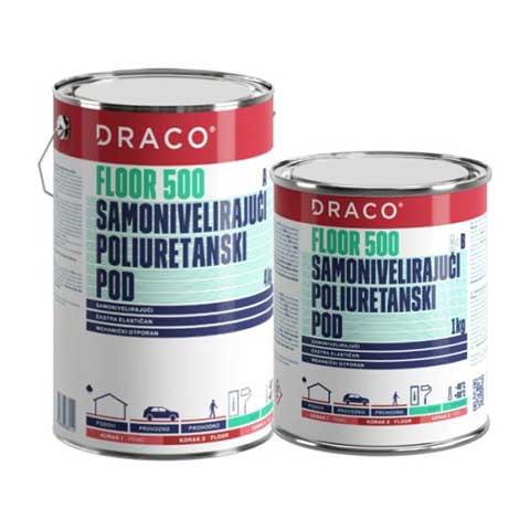 DRACO FLOOR 500 - Samonivelišući poliuretanski pod - Namena: izrada visoko-otpornih industrijskih podova u: prehrambenoj, hemijskoj, farmaceutskoj, prerađivačkoj industriji, skladišta, hladnjače, parkirališta. Ukupna potrošnja od 1,8–2,0kg/m² (za debljinu od 2,mm) u jednoj ruci. Boja: standardne boje RAL 7032, 7035, 7037, ostale boje na upit.