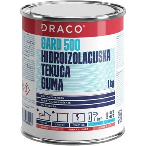 DRACO GARD 500 - Tečna poliuretanska hidroizolaciona membrana - Namena: hidroizolacija i zaštita pločica, prirodnog kamena i drveta na balkonima i terasama. Pakovanje: kante od 1,0kg; 6,0kg i 25,0kg. Boja: siva i bela.