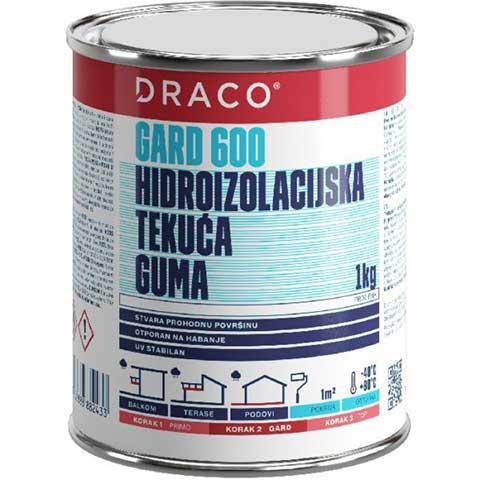 DRACO GARD 600 - Providna tečna poliuretanska hidroizolaciona membrana - Namena: hidroizolacija i zaštita pločica, prirodnog kamena i drveta na balkonima i terasama. Potrošnja: u zavisnosti od poroznosti podloge od 0,2 – 1,0kg/m². Boja: prozirna.