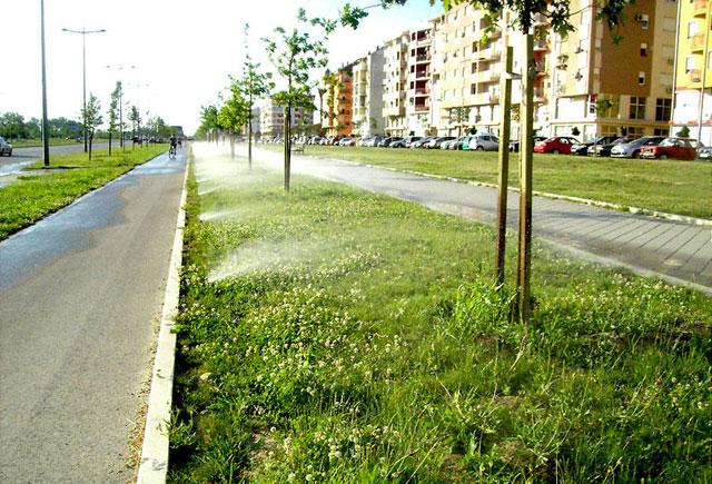 Kombinacija rotor i sprej rasprskivača i sistema navodnjavanja - kap po kap za dendronski materijal (drveće, žbunje, itd) - Bulevar Evrope, Novi Sad