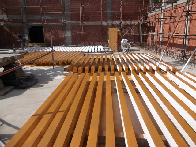 Drvene grede zaštićene sistemom premaza Firestop