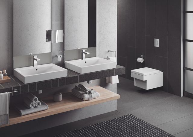 Grohe Euro Cube - Ljubitelji čistih linija i ravnih oblika koji iznad svega žele moderno kupatilo koje odiše stilom odabraće novi GROHE Cube. Oblici naglašenih uglova pretvaraju sanitarne prostorije privatnih stanova ili poslovnih i javnih prostora u minimalistički oblikovane prostore bez kompromisa.