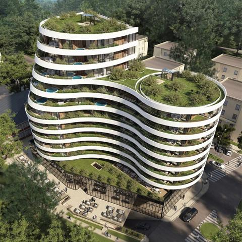 Royal Gardens Budva - Crna Gora, 2017; Arhitekte: Mit Arh, Beograd; Klijent: Jaz Express, Budva; Sistemi: 50 FK, 60 K, FMO 60/270, TERMO 120+, TERMO 85 VS