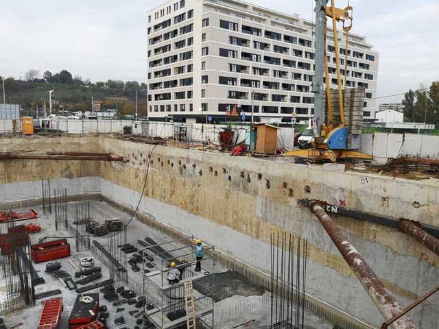 Zašítita temeljne jame - Airport City faza 7