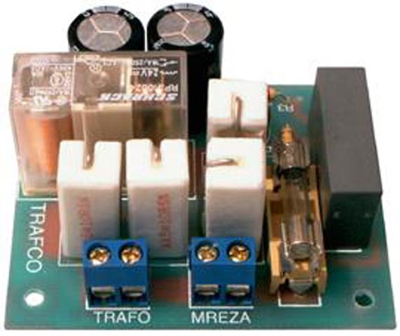 """Soft Start - """"Soft Start"""" uređaj služi za ograničavanje velikih kratkotrajnih polaznih struja u trenutku priključenja transformatora na mrežu. Preporučuje se za snage transformatora od 300 do 3.000VA primarnog napona 220V. Uređaj se mora ugraditi u odgovarajuće kućište ili direktno u uređaj."""