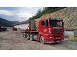 Nova trasa autoputa E75 preko kamenoloma Momin Kamen - Transport betonskih nosača težine 63 t specijalnim transportnim sredstvima, istovar i montaža nosača pomoću dizalice nosivosti 220 t