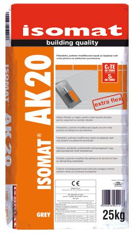 ISOMAT AK-20 - Fleksibilni, polimer-modifikovani lepak za pločice visokih performansi za sve vrste pločica i zahtevne primene