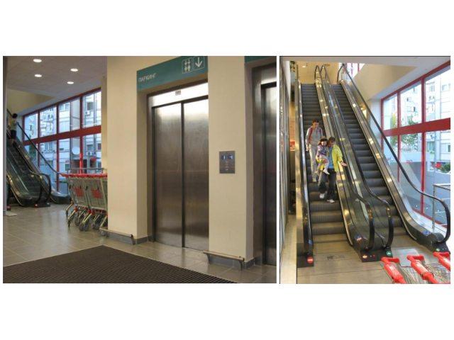 Tržni centar Vero, Beograd, Srbija - Eskalatori i 2 putnička/teretna lifta
