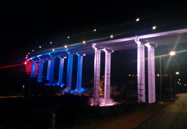 Dekorativno osvetljenje mosta Vrla auto-puta E75, Vladičin Han - Srbija