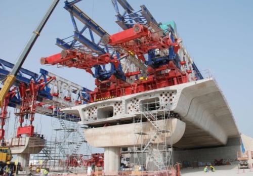 Postavljanje elemenata betonskog mosta