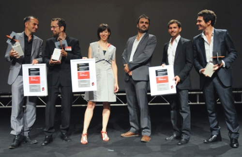 Winners Holcim  (l-r) - Tim Edler (Gold), Carlos Arroyo and Vanessa Cerezo (Silver), and Tanguy Vermet, Samuel Nageotte and Philippe Rizzotti (Bronze)